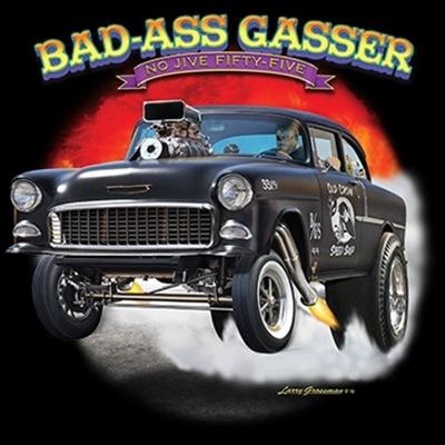 Bad Ass Gasser 55 Chevy Bel Air Drag Race T-shirt